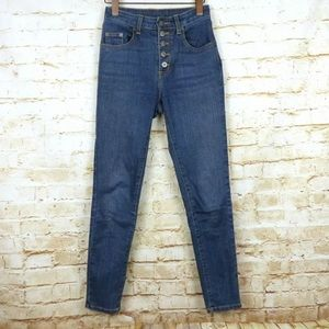 Carmar High Rise Exposed Button Fly Skinny Jean